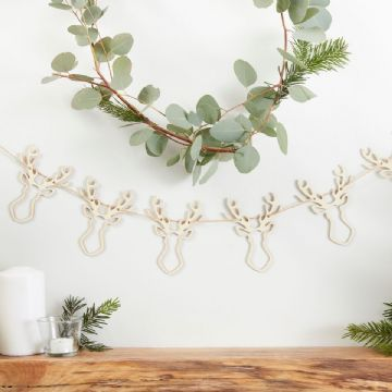 Rustic Christmas Stags Head Garland - 1.5m
